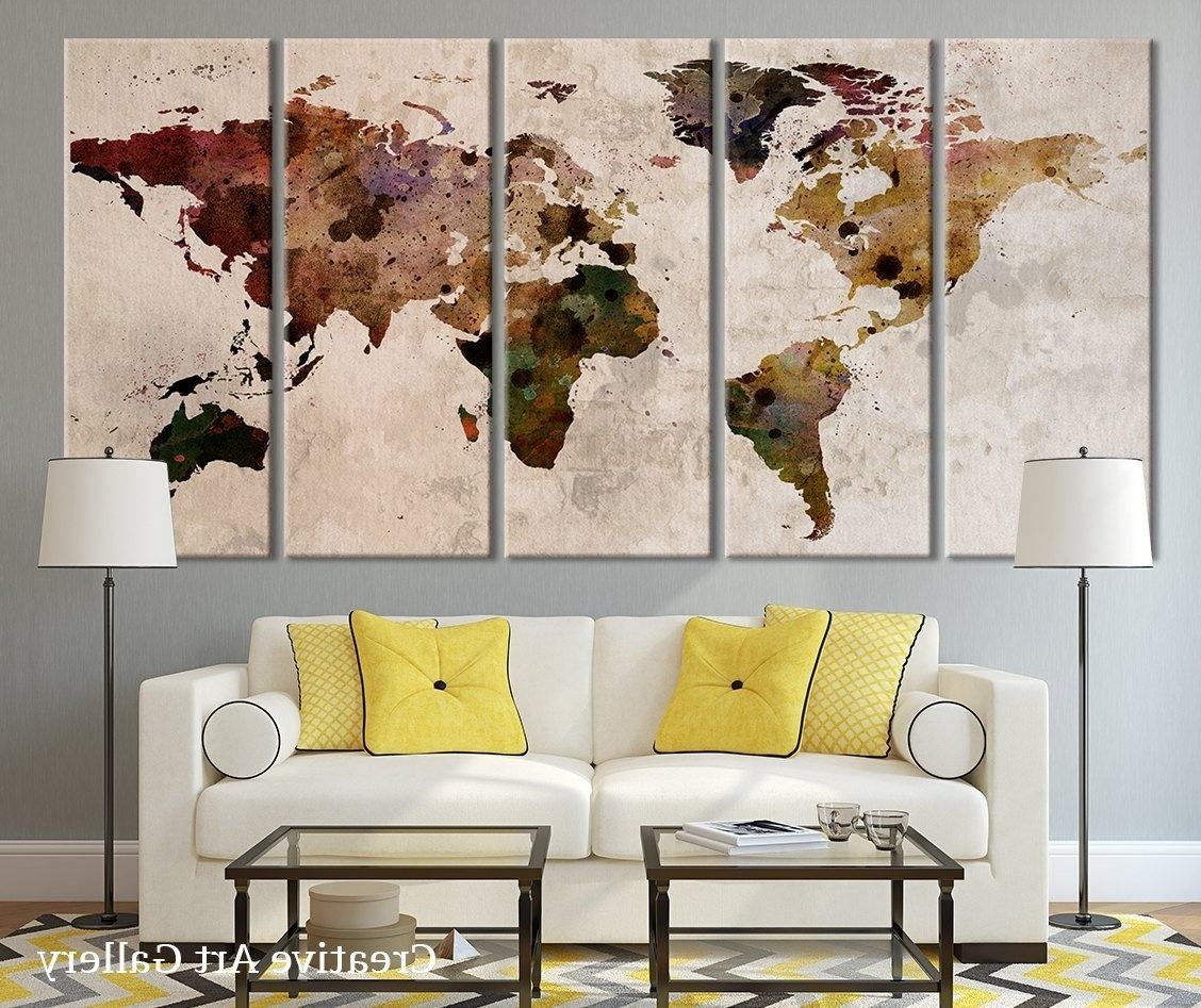 Famous Large Vintage Wall Art Pertaining To Amazon: Map Art – Large Canvas Print Rustic World Map, Large (View 7 of 15)