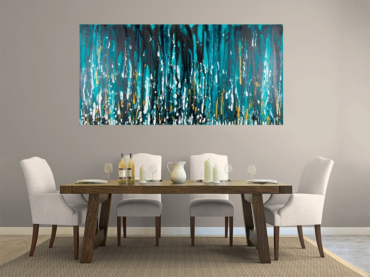 "Famous Meteor Showerqiqigallery 48""x24"" Stretched Canvas Original For Abstract Office Wall Art (View 10 of 15)"