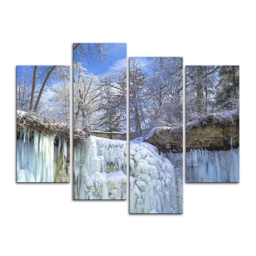 Famous Minneapolis Wall Art Inside Wall Art Decor Poster Canvas Painting 4 Pieces Upper Frozen (View 7 of 15)