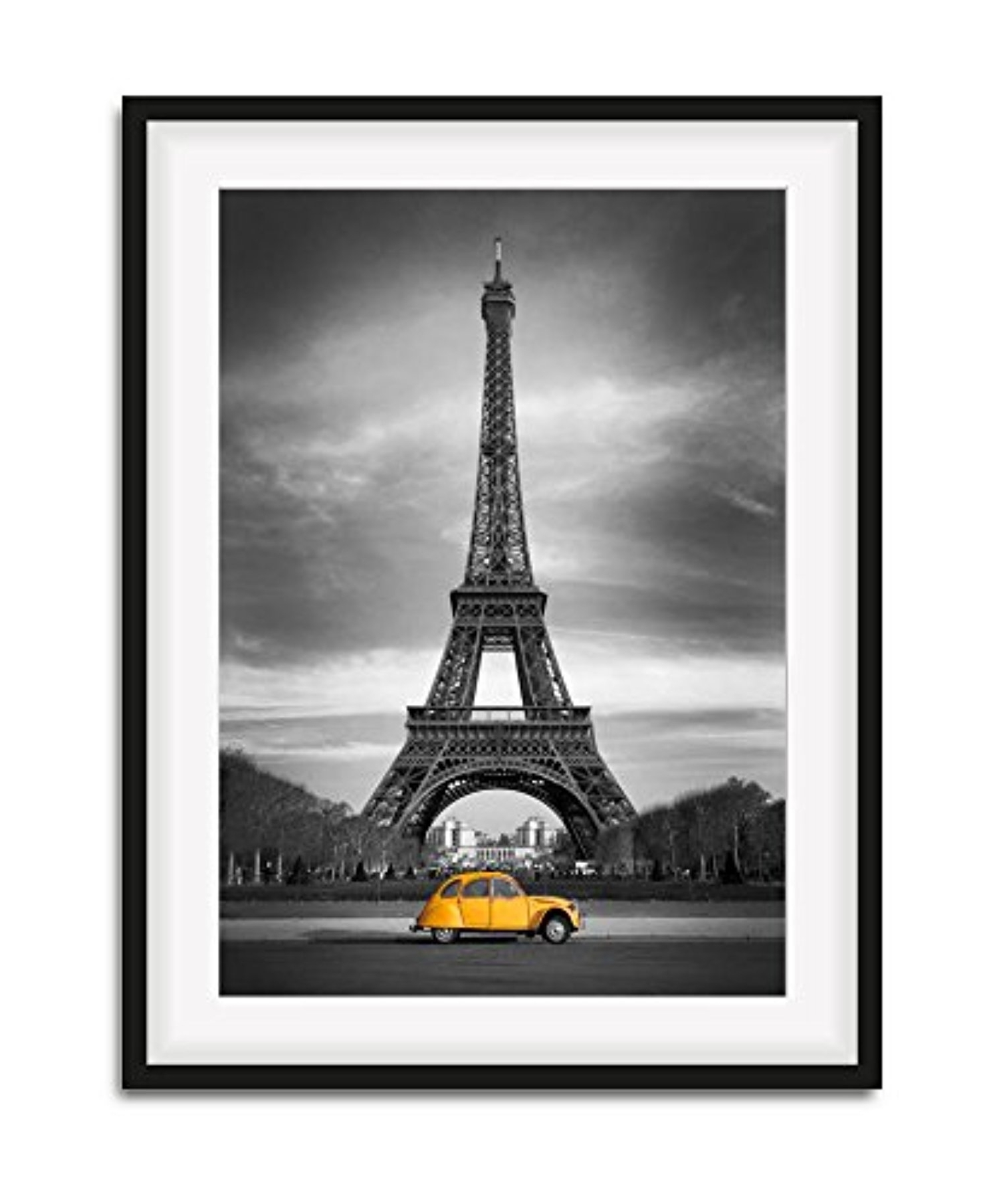 Famous Modern Eiffel Tower And Yellow Car Canvas Picture Wall Art Print With Regard To Eiffel Tower Wall Art (View 8 of 15)