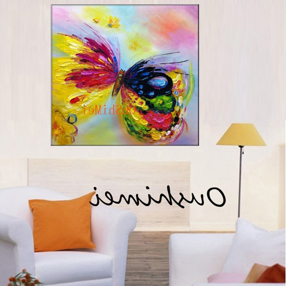 Famous New Arrive Handmade Canvas Oil Painting Modern Knife Butterfly Regarding Abstract Butterfly Wall Art (View 15 of 15)