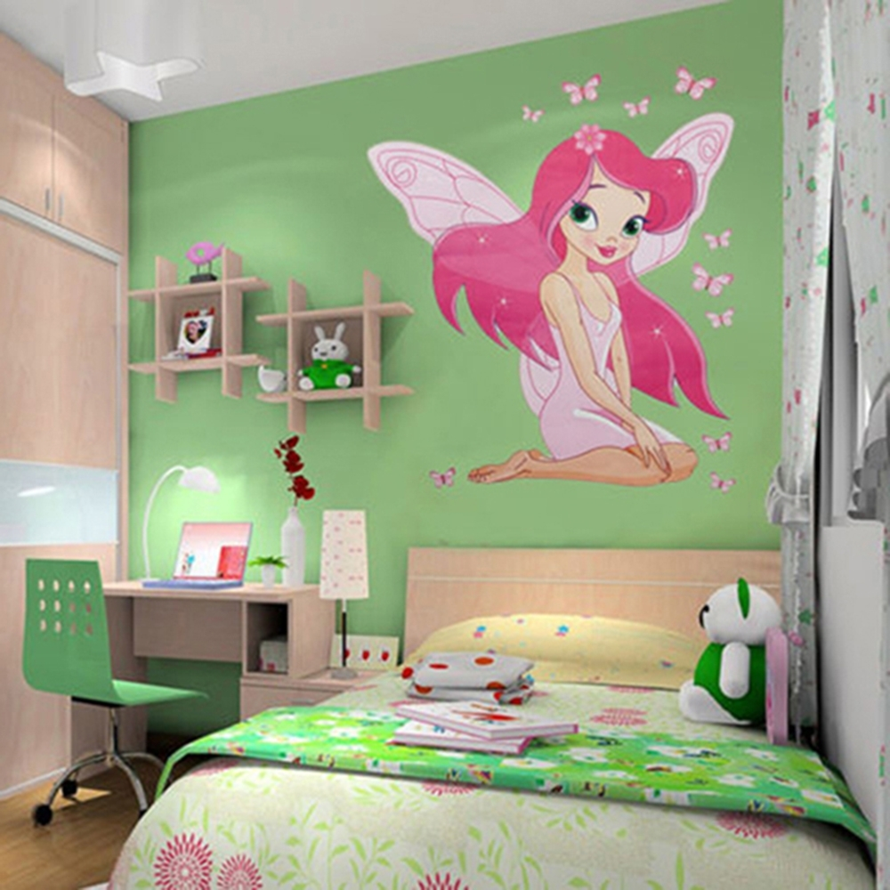 Famous New Arrive Kids Girl's Room Fairy Princess Butterfly Wall Stickers Inside Baby Nursery 3D Wall Art (View 11 of 15)