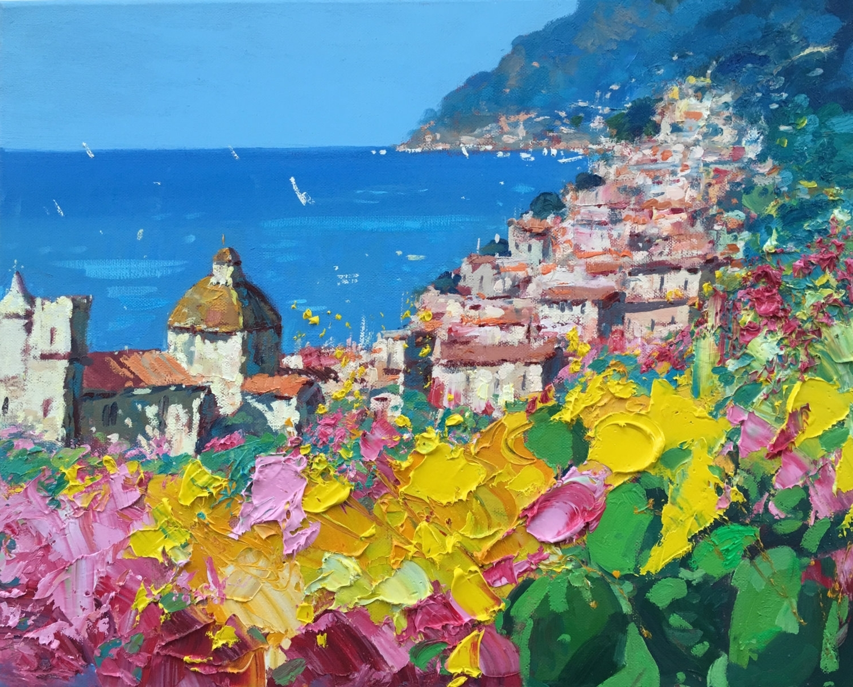 Famous Positano Italy Amalfi Coast Canvas Art – Painting Of Positano With Regard To Italian Coast Wall Art (View 3 of 15)