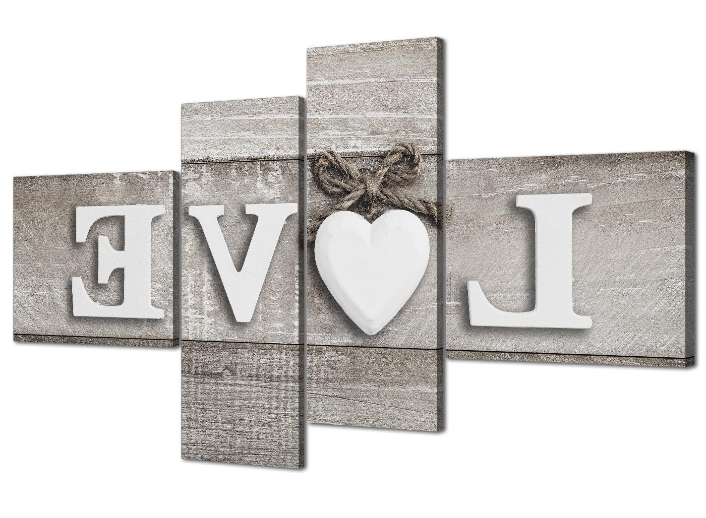 Famous Shabby Chic Canvas Wall Art Throughout Large Shabby Chic Love Quote – Grey Canvas Wall Art Prints – Multi (View 6 of 15)