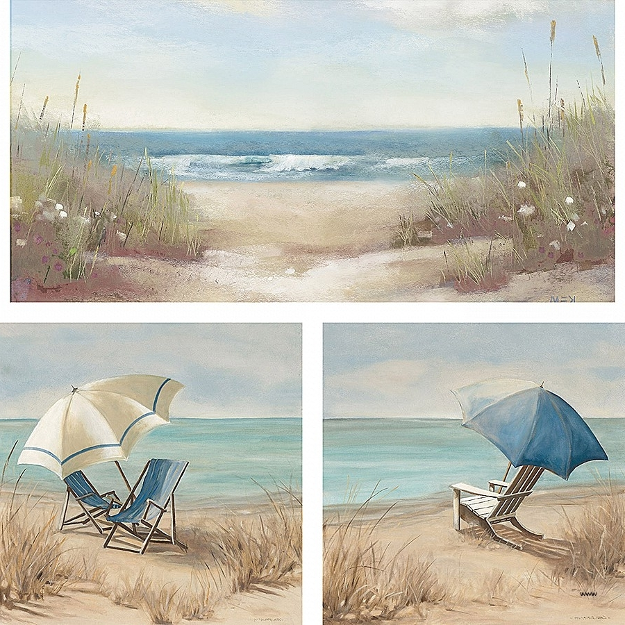 Famous Three Piece Wall Art Sets Within Three Piece Wall Art Sets Lovely 3 Piece Beach Scene Wall Art Set (View 1 of 15)