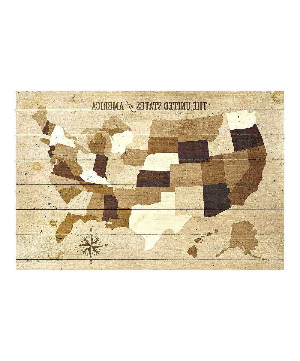 Famous Us Map Wall Art Inside Vintage Us Map On Canvas License Plate Usa Map Wall Art Usa Modern (View 5 of 15)