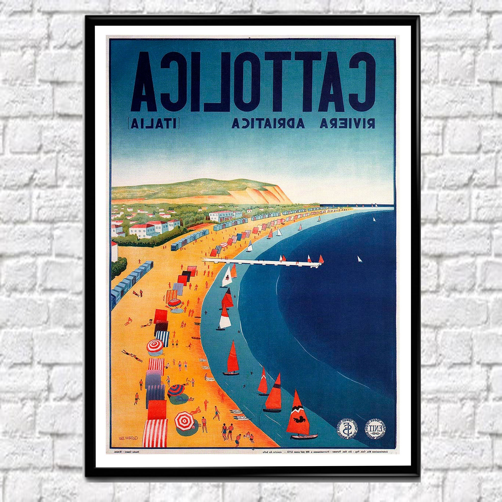 Famous Vintage Italian Wall Art Intended For Cattolica Travel Poster Adriatic Poster 1939 Travel Wall Art (View 5 of 15)