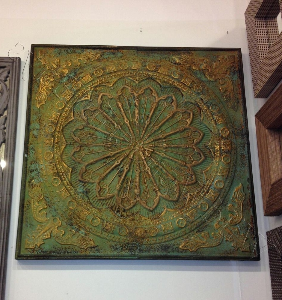 Famous Wall Art Design Ideas: Square Shape Embossed Metal Wall Art In Outdoor Medallion Wall Art (View 9 of 15)