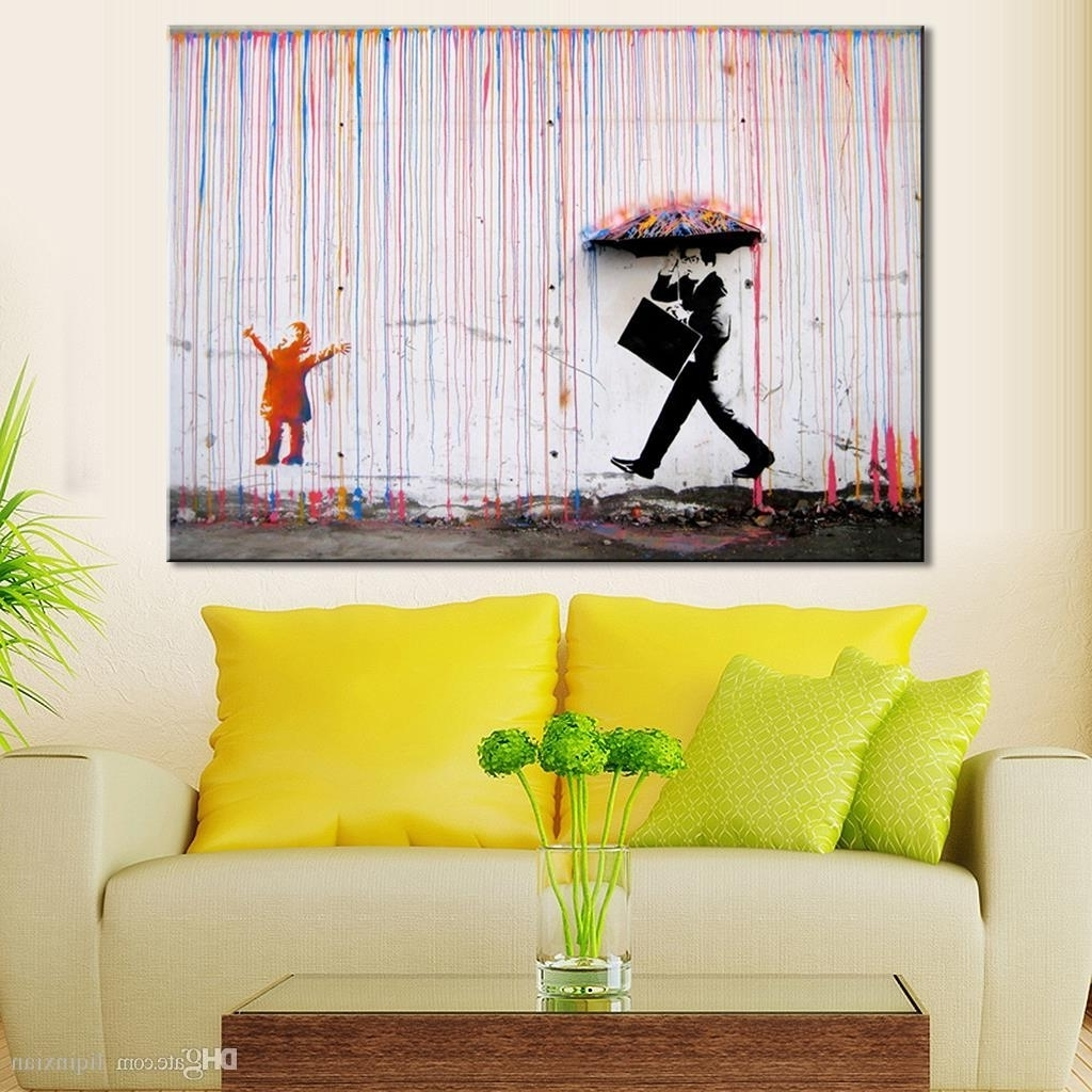 Famous Wall Art For Living Room 2017 Banksy Art Life Colorful Rain Living With Regard To Abstract Living Room Wall Art (View 9 of 15)