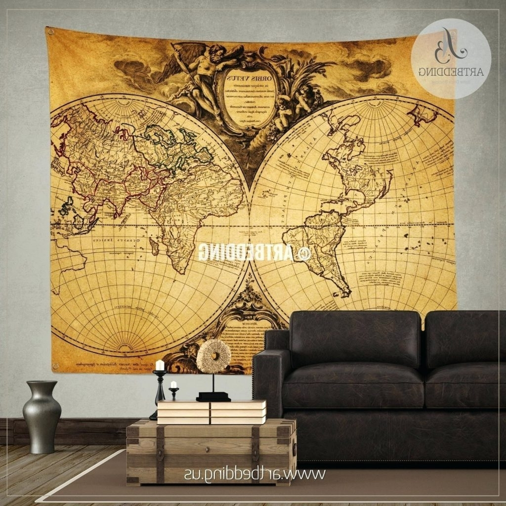 Famous Wall Arts ~ Vintage Maps Wall Art Old World Map Wall Art In Blue With Regard To Vintage Map Wall Art (View 2 of 15)