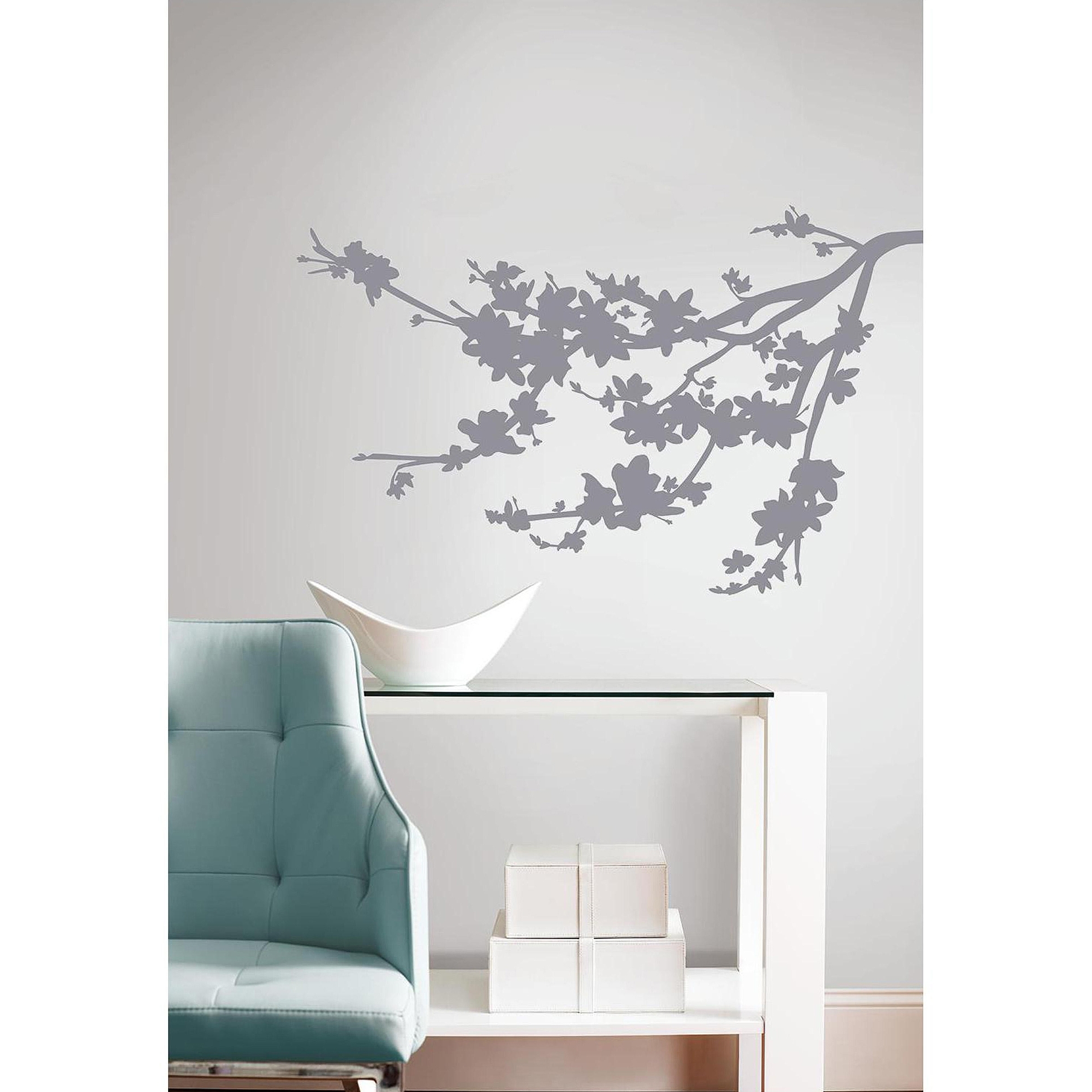 Famous Walmart Wall Stickers Inside Gray Silhouette Blossom Branch Peel And  Stick Wall Decals (Gallery