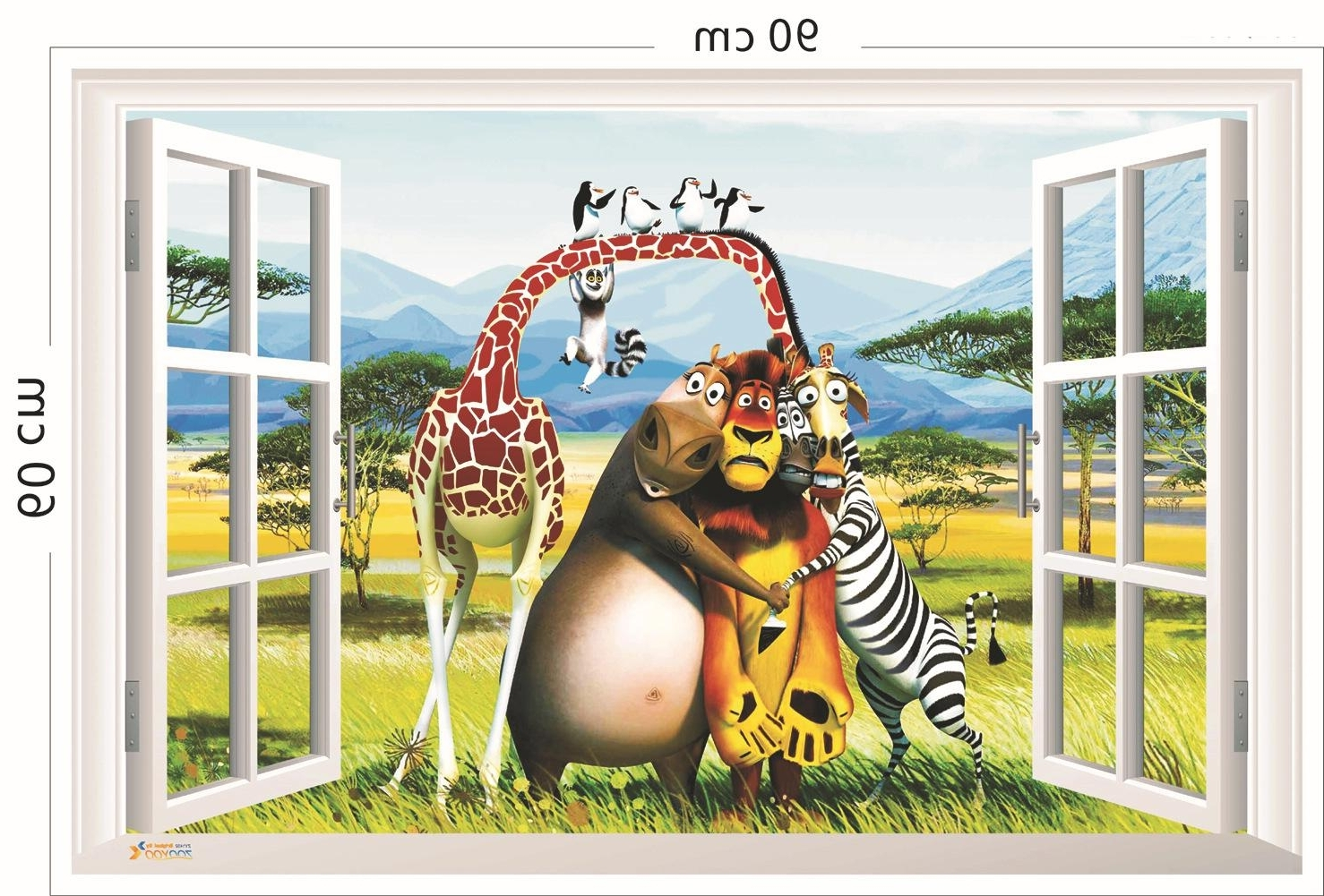 Famous Zebra 3D Wall Art Intended For 3D Window View Animals Forest Wall Art Mural Decal Sticker Cartoon (View 3 of 15)