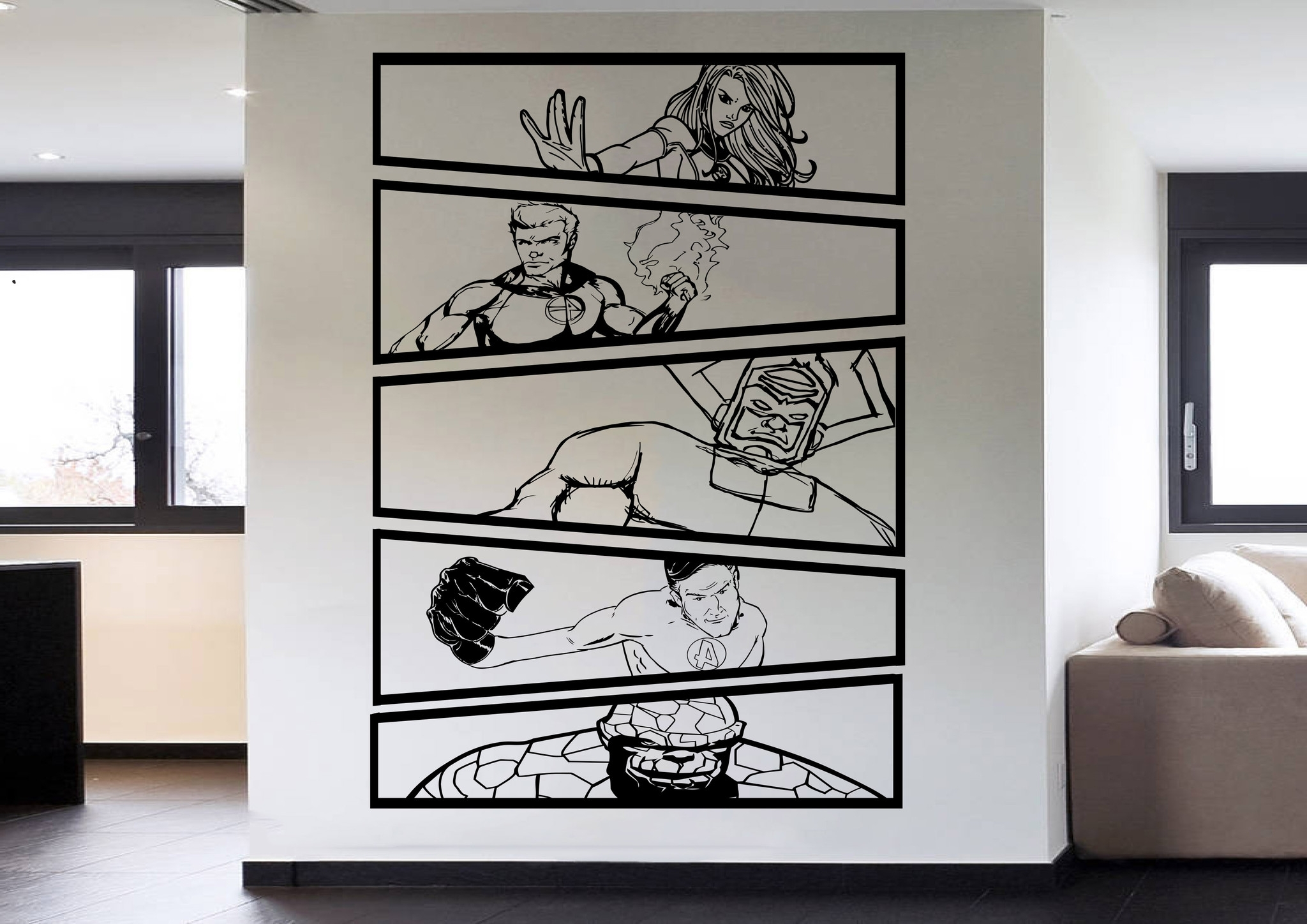 Fantastic 4 Vs Galactus Comic Strip 5 Panel Wall Art Stickers Pertaining To Most Current Superhero Wall Art Stickers (View 5 of 15)