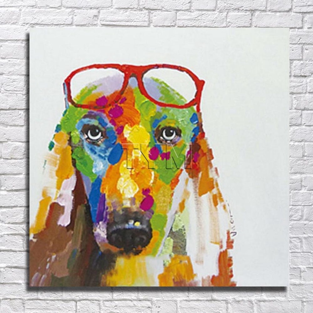 Fashion Glasses Dog Wall Art Home Decoration Living Room Within Current Abstract Dog Wall Art (View 7 of 15)