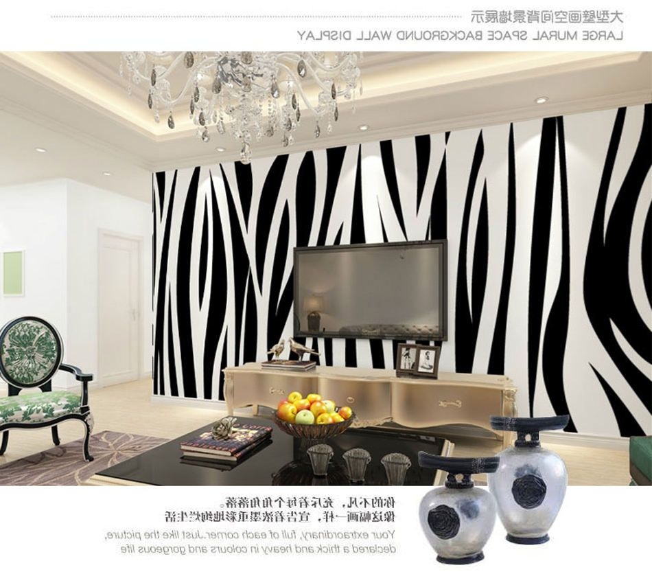 Fashion Glitter Marble Vintage Animal Zebra Style Wallpaper For 3D Within Preferred Zebra 3D Wall Art (View 4 of 15)