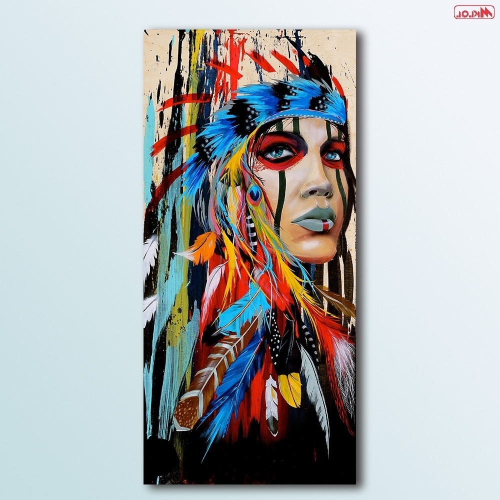 Fashion Oil Painting Native American Girl Paiting Home Decor On With Regard To Most Recent Native American Wall Art (View 4 of 15)