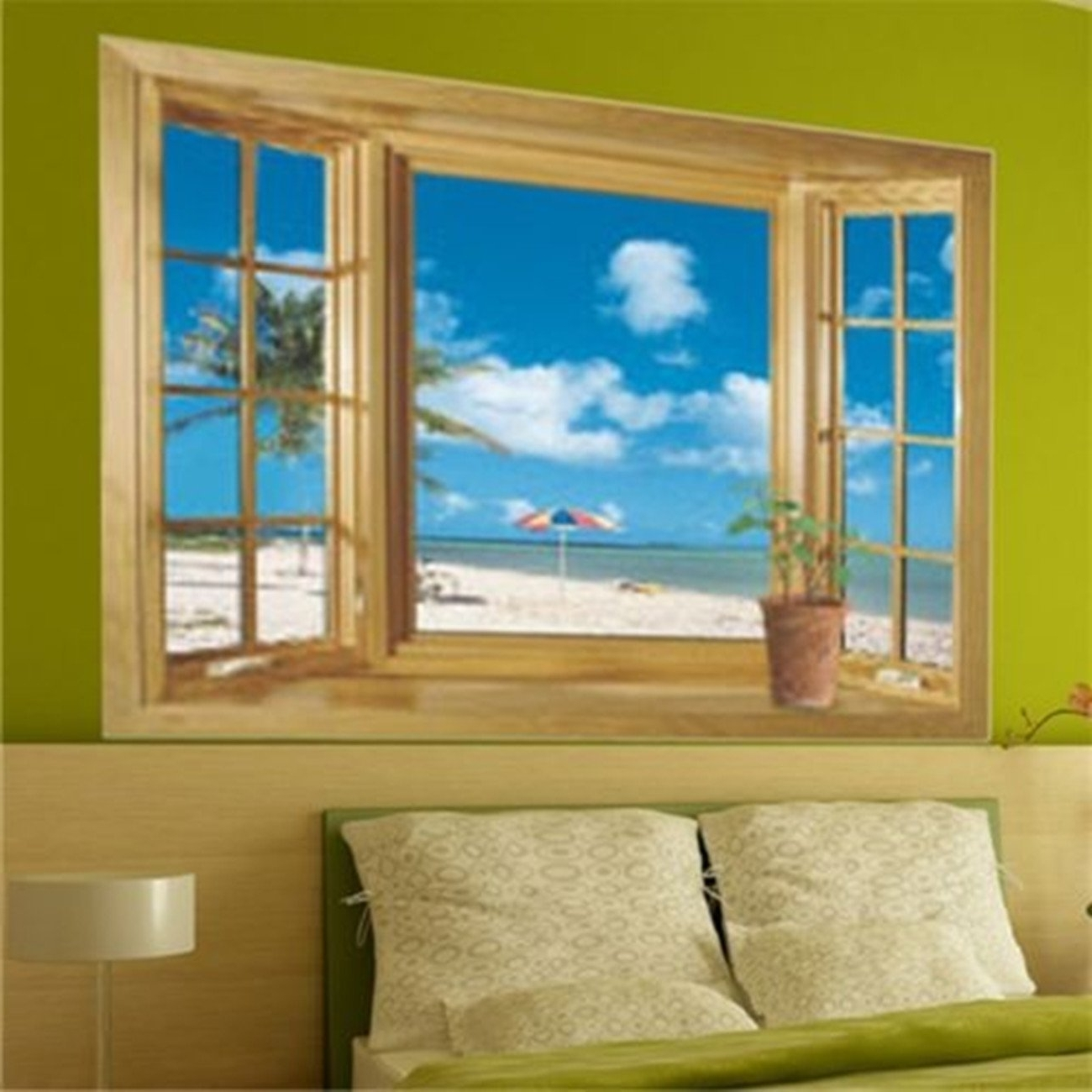 Fashionable 3d Beach Window View Removable Wall Stickers Vinyl Decal Home Throughout 3d Wall Art Window (View 12 of 15)