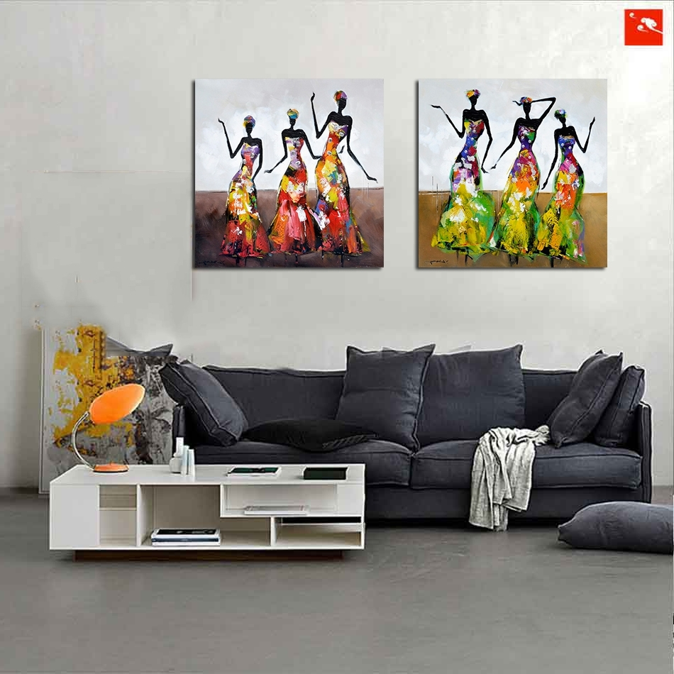 Fashionable Abstract African Wall Art For New 2 Pieces Street Wall Art Abstract Modern Dancing African Women (View 7 of 15)