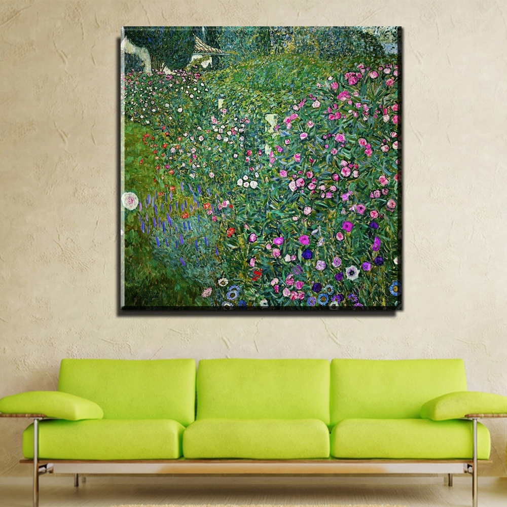 Fashionable Abstract Garden Wall Art For Zz745 2017 Modular Pictures Gustav Klimt Flower Garden Print (View 13 of 15)