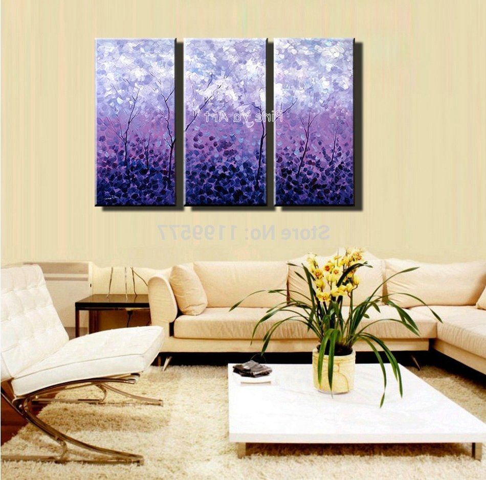 Fashionable Abstract Wall Art For Bedroom Intended For 3 Piece Acrylic Tree Purple Abstract Modern Wall Art Handpainted (View 14 of 15)