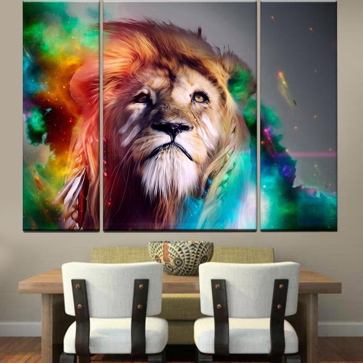 Fashionable Amazon: Rain Queen Modern Abstract Art Colorful Lion Oil With Regard To Abstract Lion Wall Art (View 8 of 15)