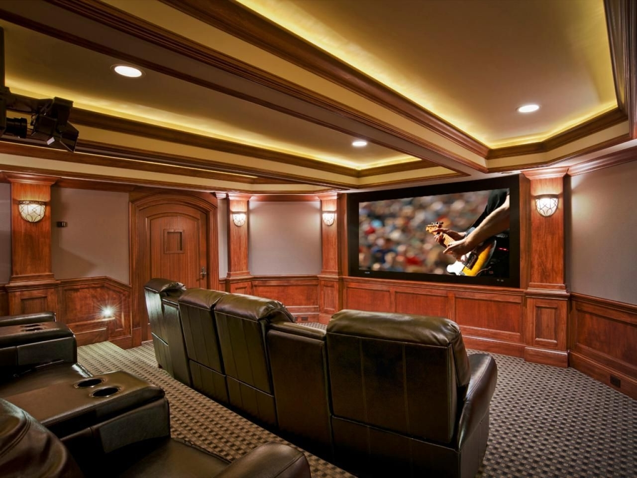 Fashionable Basement Home Theater Ideas, Diy, Small Spaces, Budget, Medium Intended For Media Room Wall Art (View 3 of 15)