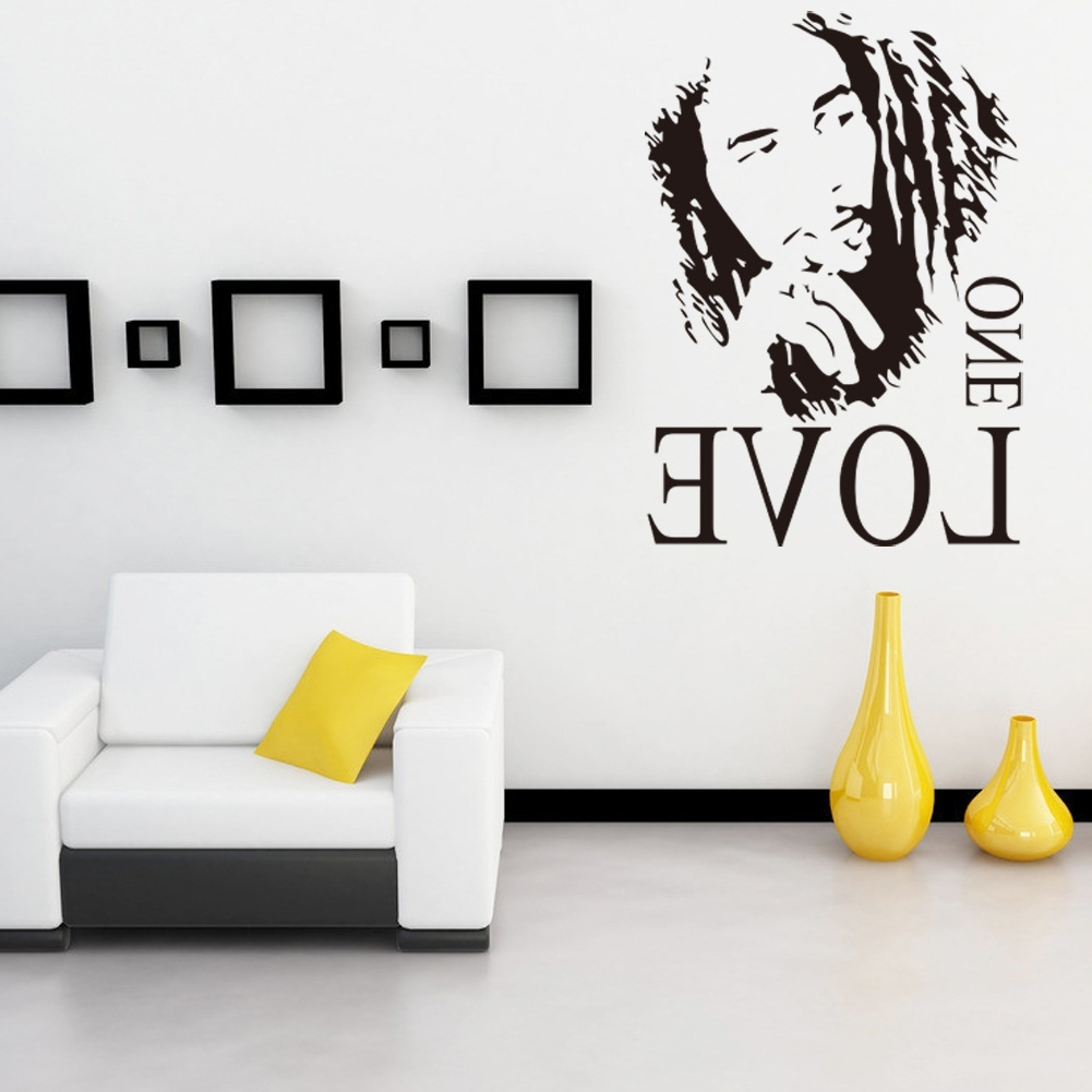 Fashionable Bob Marley Wall Art Inside Wall Sticker Vinyl Art Decor Bob Marley One Love Mural Removable (View 10 of 15)