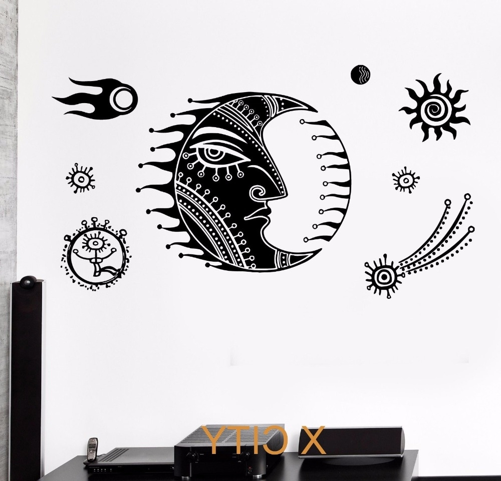 Fashionable Cartoon Moon Star Space For Children Kids Bedroom Wall Art Decal With Regard To Space Stencils For Walls (View 6 of 15)