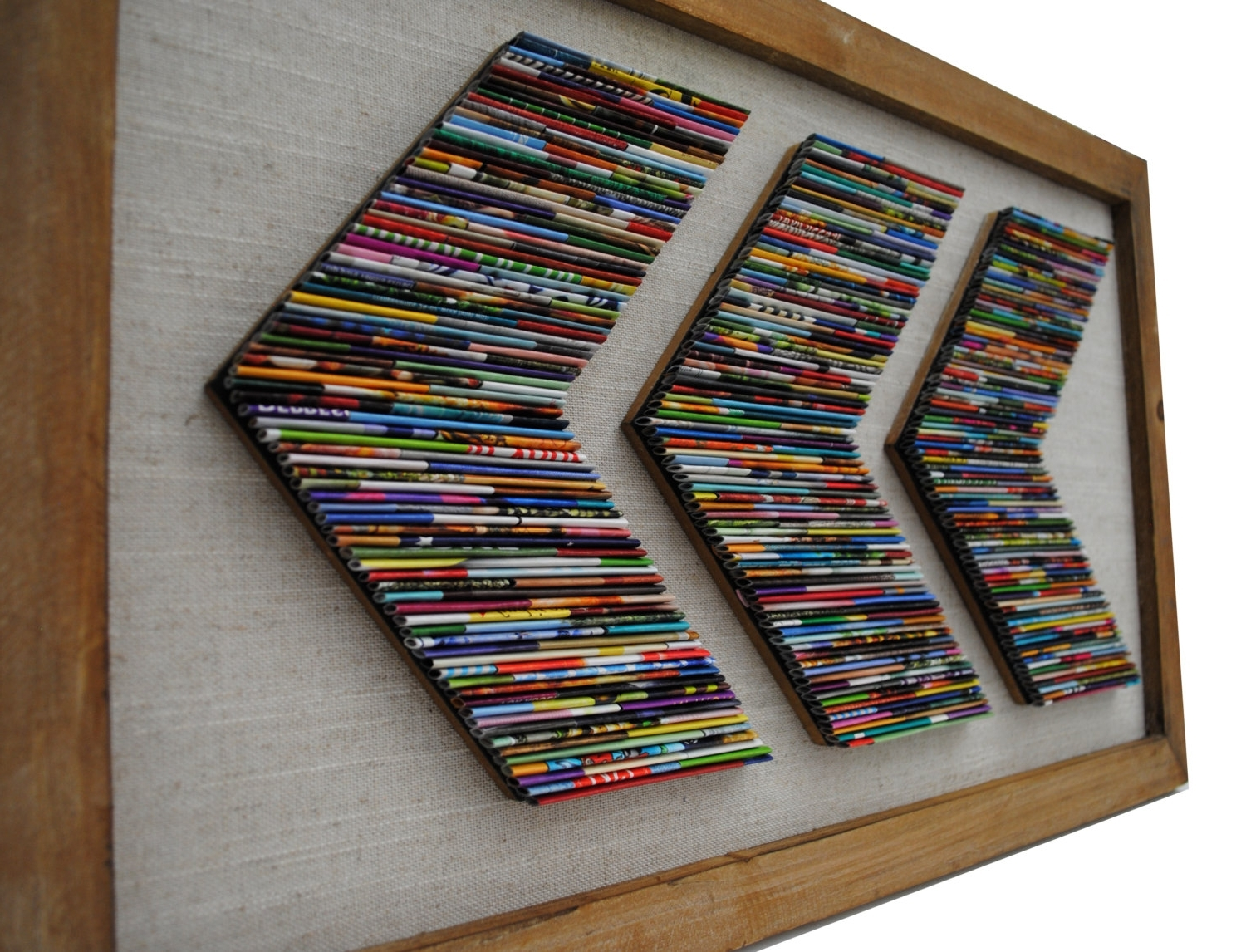 Fashionable Chevron Recycled Magazine Wall Art  Made From Recycled Magazines Intended For Recycled Wall Art (View 3 of 15)