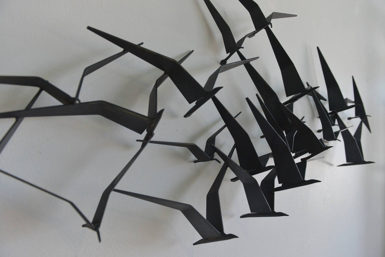Fashionable Curtis Jere Birds In Flight Metal Wall Sculpture At 1Stdibs For Flying Birds Metal Wall Art (View 3 of 15)