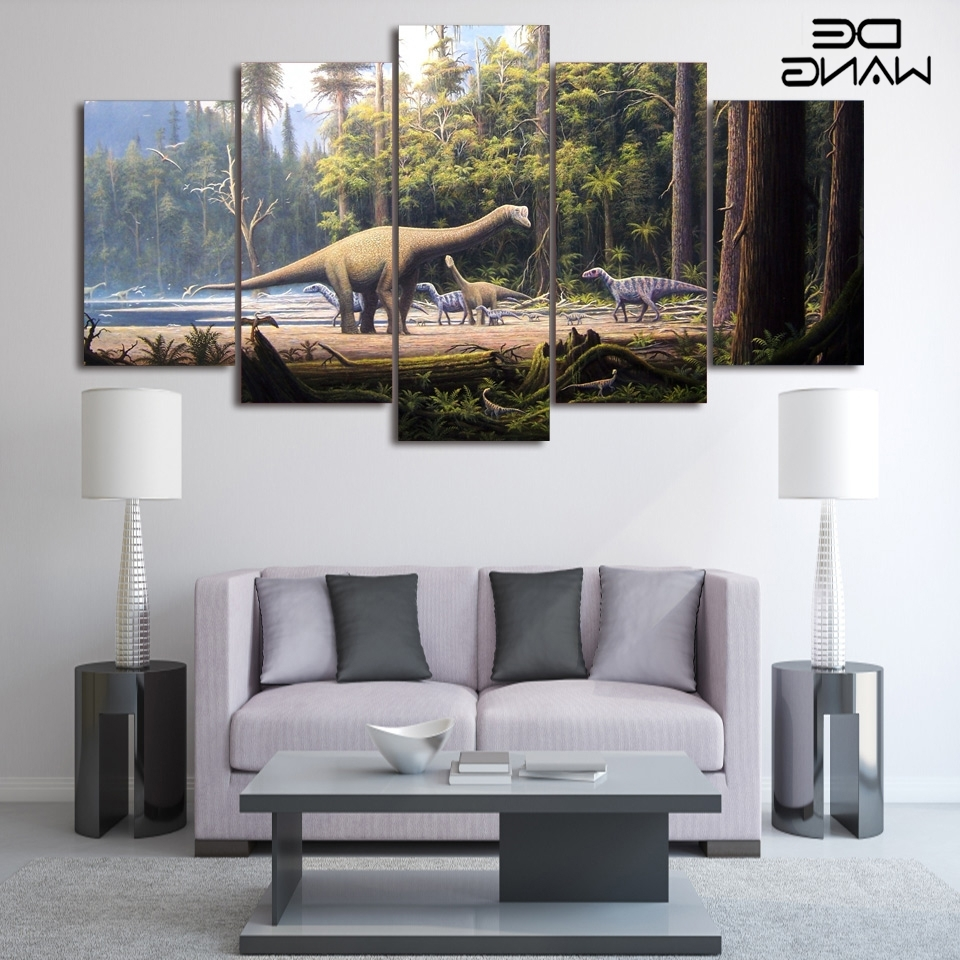 Fashionable Dinosaur Canvas Wall Art With 5 Panel Wall Art Canvas Prints Landscape Animal Dinosaur Canvas (View 8 of 15)