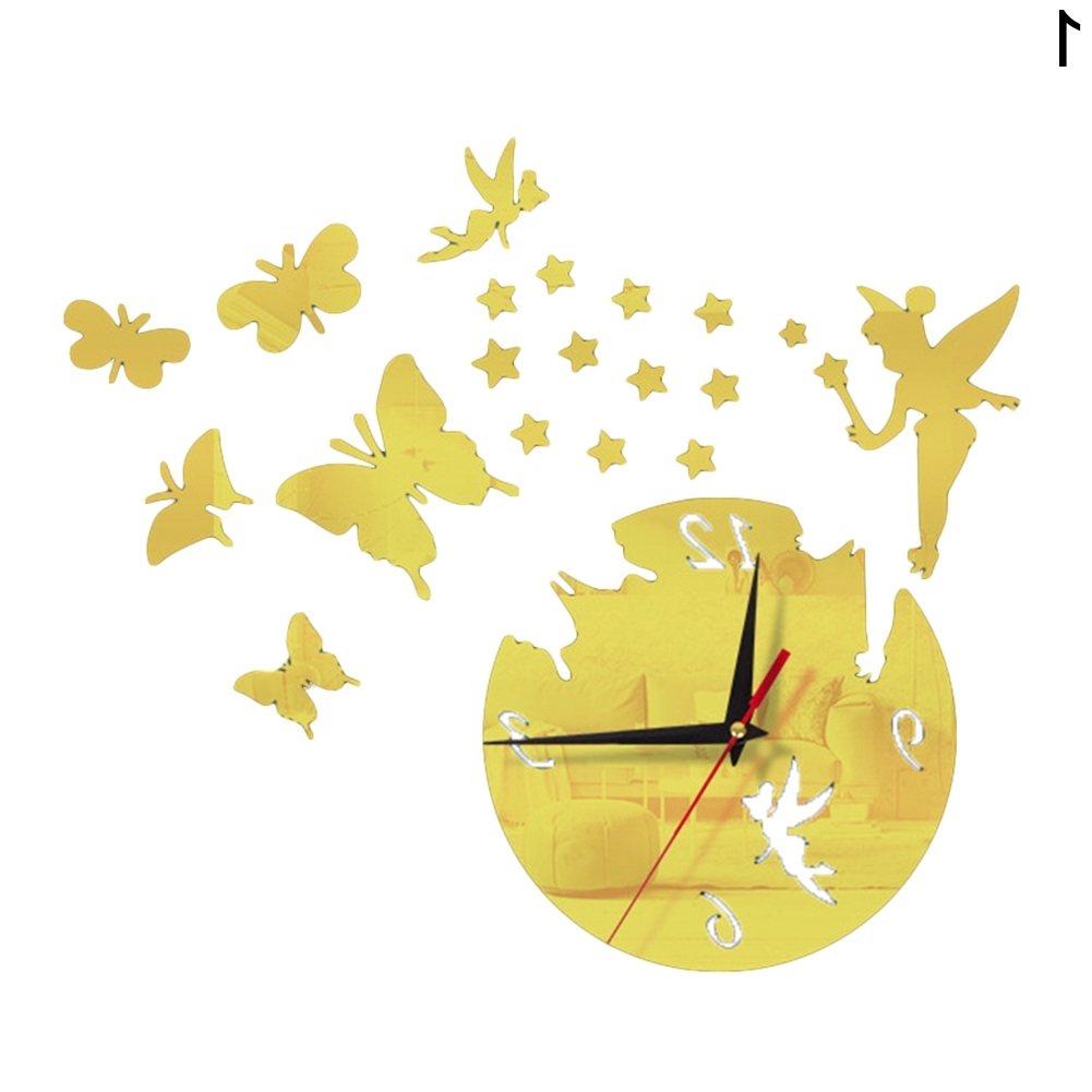 Fashionable Diy 3D Acrylic Wall Clock Fairy Butterfly Home Room Decor Art Intended For Diy 3D Butterfly Wall Art (View 10 of 15)