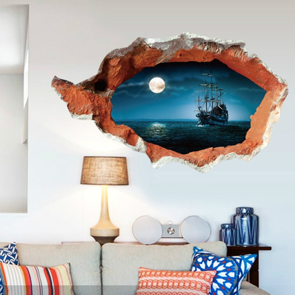 Fashionable Diy 3d Wall Art Decor Within Hot !multicolor 3d Broken Wall Art Mural Decal Senery Wall (View 3 of 15)