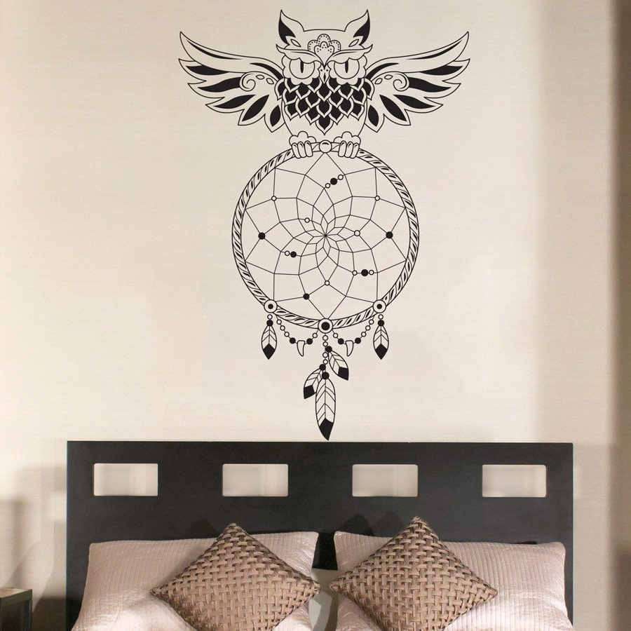 Fashionable Dream Catcher Bedroom Owl Wall Decal Art Decor Sticker Vinyl Mural Throughout Owl Wall Art Stickers (View 3 of 15)