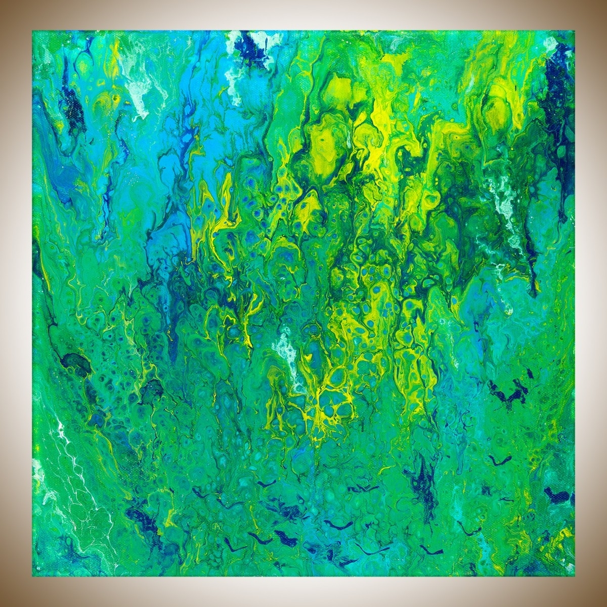"Fashionable Flying Birdsqiqigallery 12"" X 12"" Fluid Painting Turquoise With Regard To Yellow And Green Wall Art (View 3 of 15)"