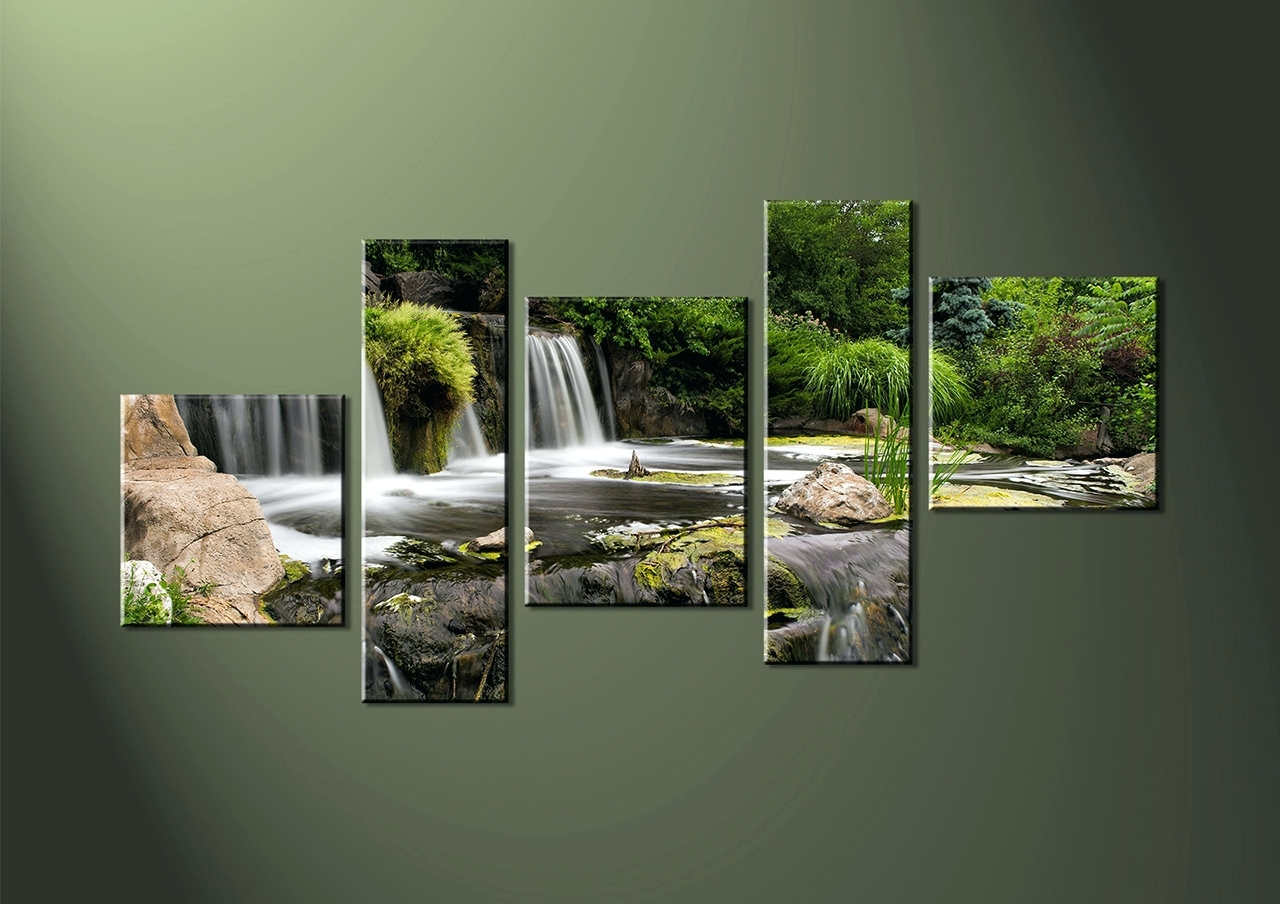 Fashionable Groupon Wall Art Throughout Wall Arts ~ Canvas Wall Art Panels 5 Piece Canvas Wall Landscape (View 1 of 15)
