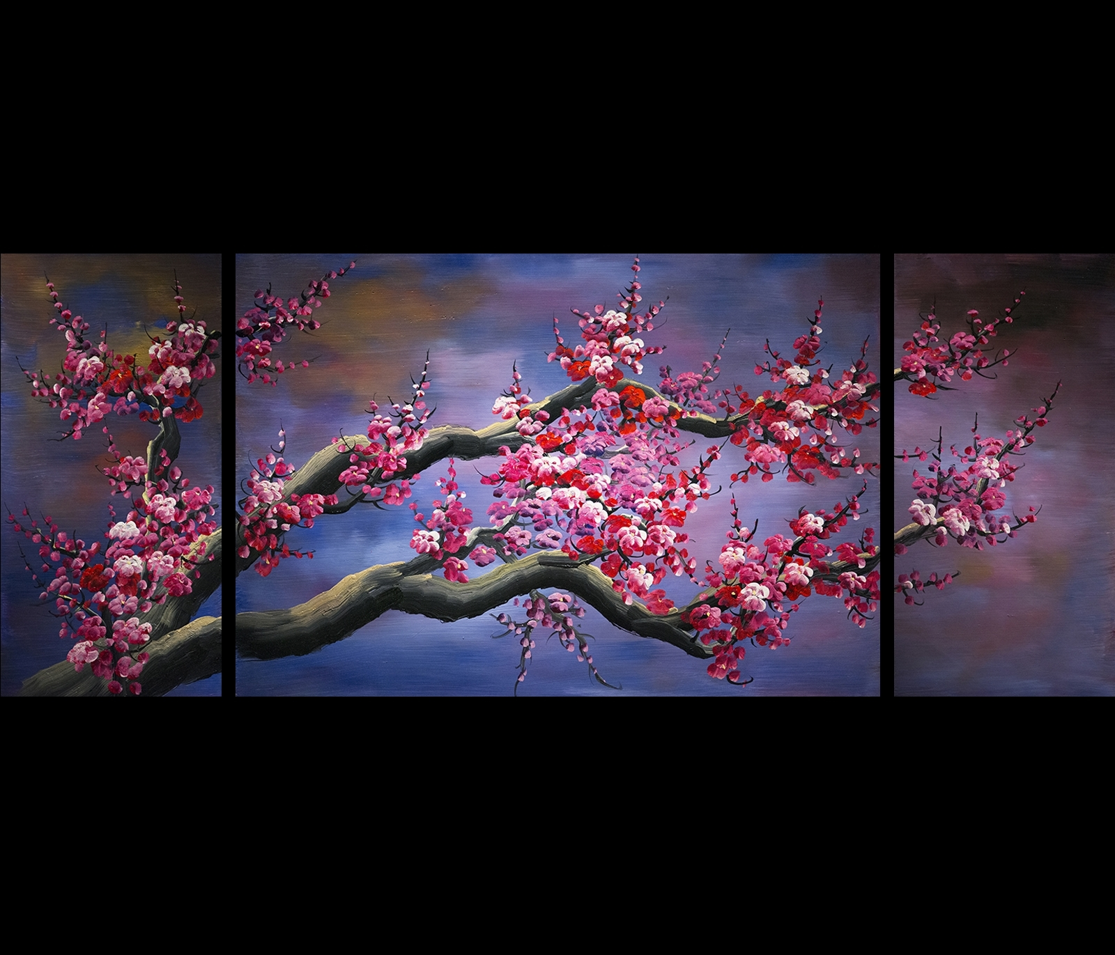 Fashionable Japanese Cherry Blossom Canvas Wall Art Modern Abstract Painting Regarding Cherry Blossom Oil Painting Modern Abstract Wall Art (View 2 of 15)
