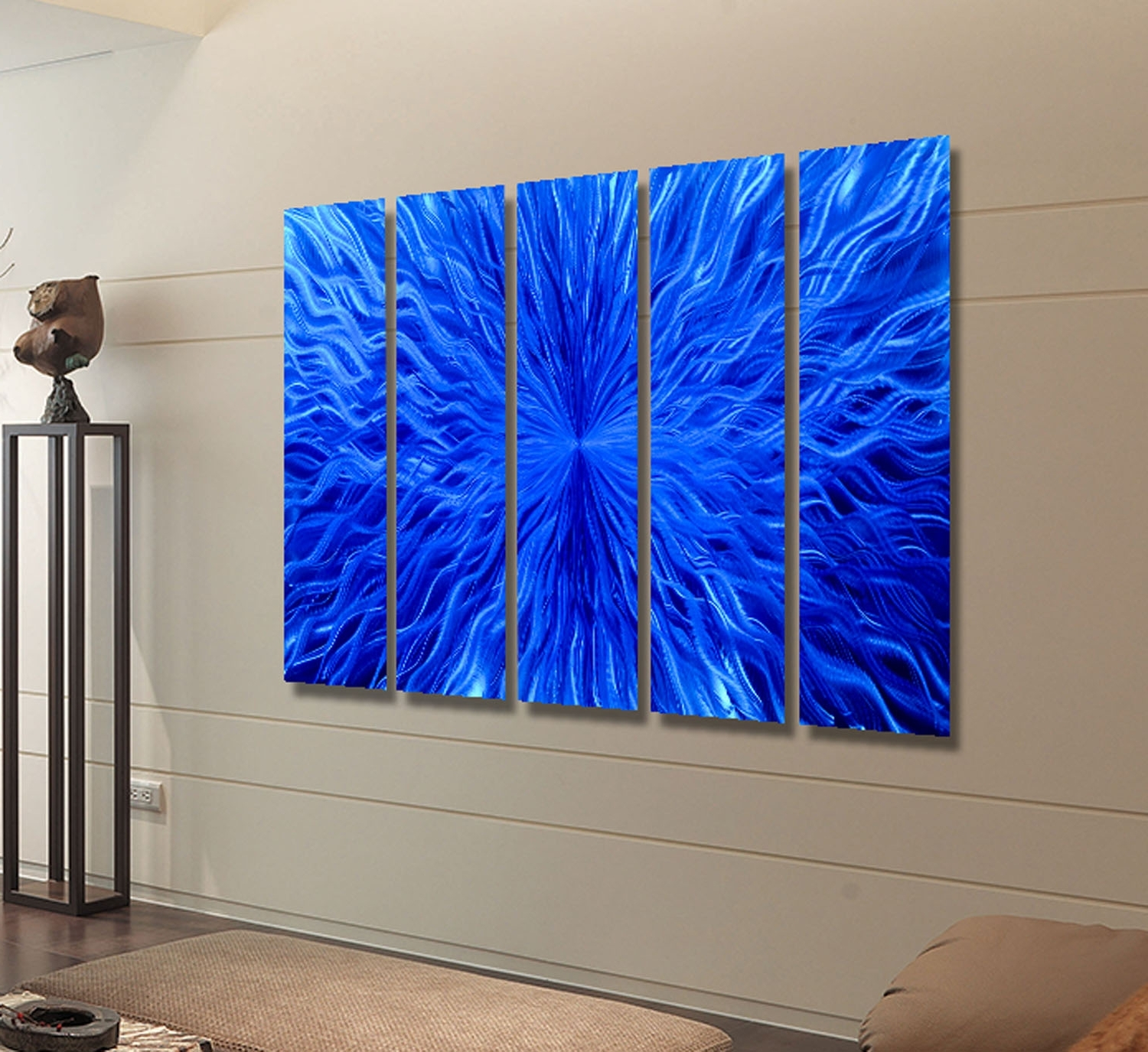 Fashionable Large Abstract Metal Wall Art Inside Blue Vortex Epic – Extra Large Blue Abstract Metal Wall Artjon (View 6 of 15)