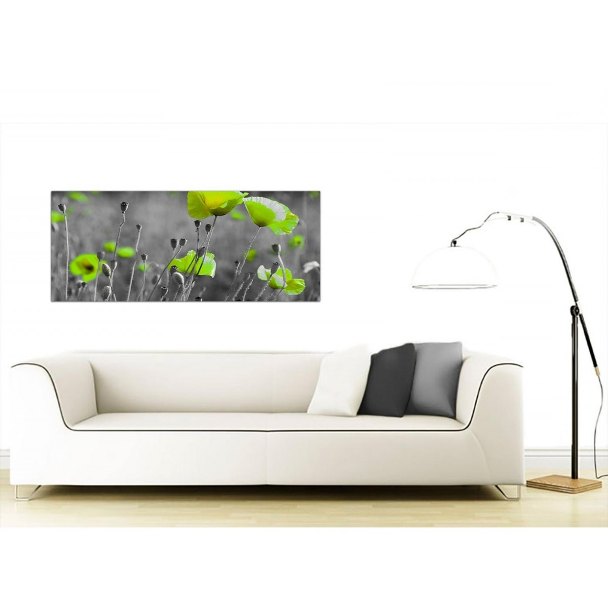 Fashionable Large Green Wall Art With Regard To Cheap Black And White Canvas Wall Art Of Green Poppies (View 4 of 15)