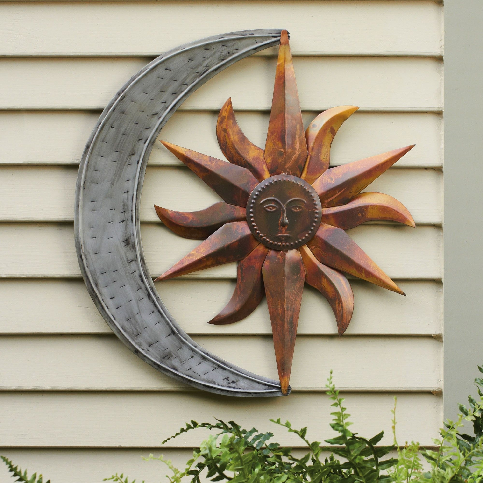 Fashionable Large Metal Wall Art For Outdoor Inside Sun And Moon Indoor Outdoor Metal Wall Art (View 3 of 15)