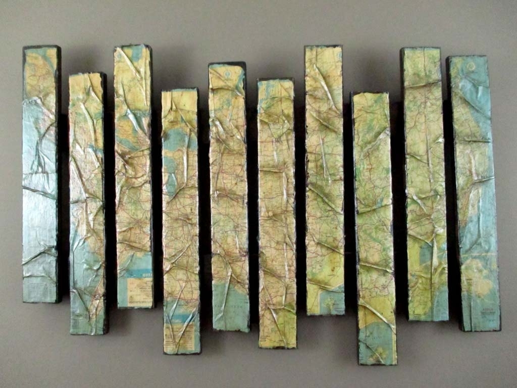 Fashionable Map Artwork – Wooden Wall Sculpture – Pallet Art – Map Wall Within Sculpture Abstract Wall Art (View 3 of 15)