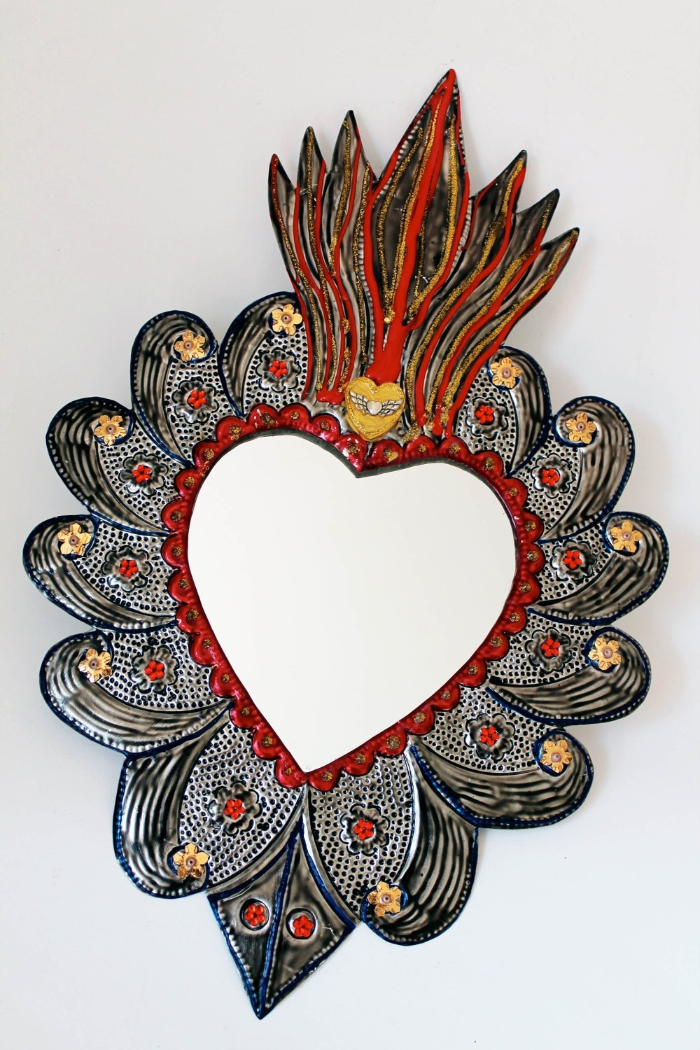 Fashionable Mexican Metal Art Inside Sacred Heart Tin Metal Mirror / Mexican Folk Artthevirginrose (View 3 of 15)
