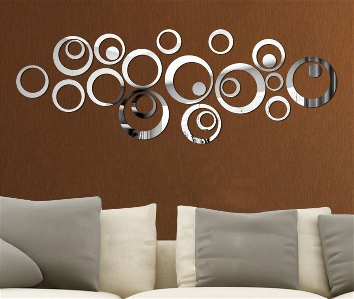 Fashionable Mirror Circles Wall Art With Miroir Autocollant Autocollant 3D Design Moderne Conception Future (View 3 of 15)