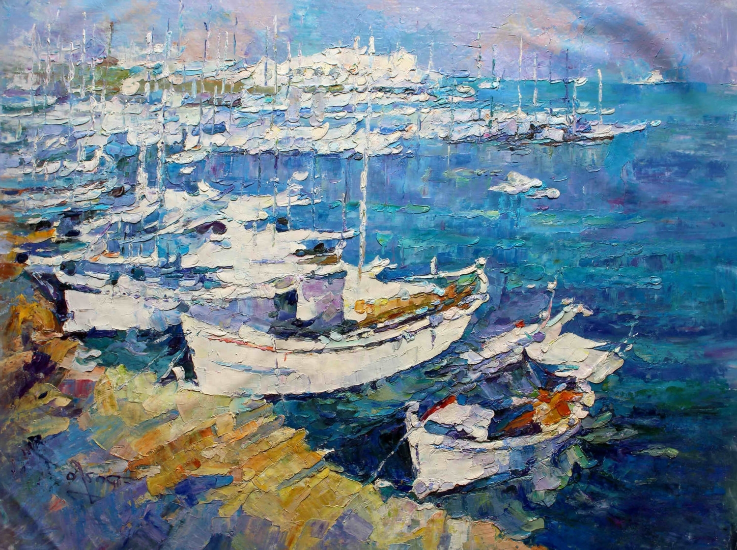 "Fashionable Modern Italian Wall Art For 36x48"" – Original Modern Italian Art Oil Painting – Boat In Harbor (View 9 of 15)"