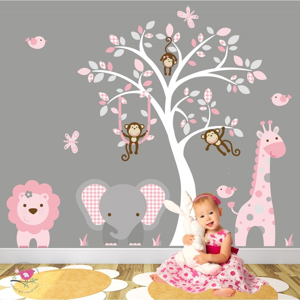 Fashionable Nursery Wall Art For Jungle Animal Nursery Wall Art Stickers (View 3 of 15)