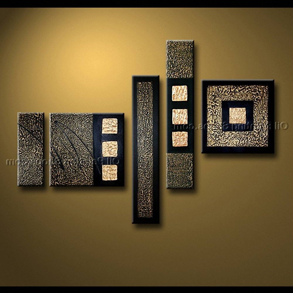 Fashionable Painted Pentaptych Modern Abstract Painting Wall Art Inner Stretched Inside Modern Abstract Wall Art (View 3 of 15)