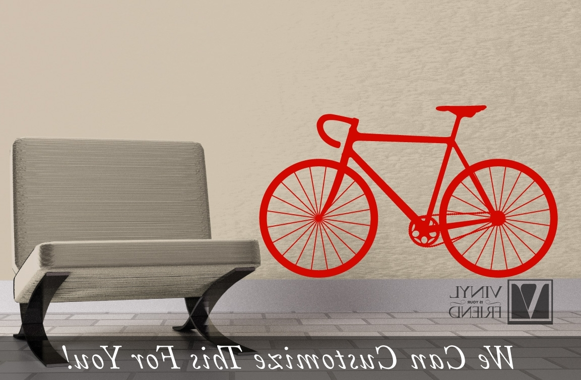 Fashionable Road Race Bicycle Wall Vinyl Graphic Art A Sports Wall Decor For With Bicycle Wall Art Decor (View 8 of 15)