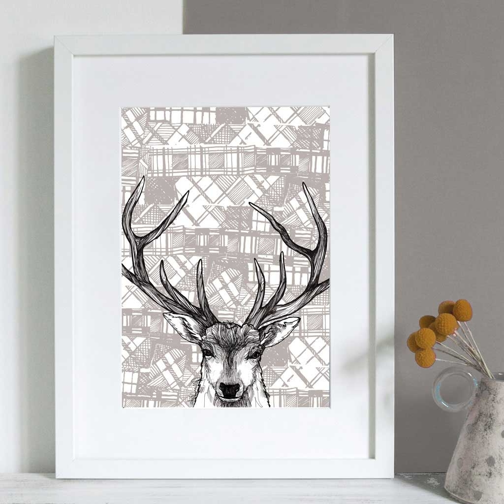 Fashionable Stag Wall Art With Gillian Kyle Scottish Wall Art Tartan Stag Canvas Print (View 7 of 15)