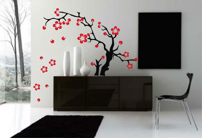 Fashionable Tattoo Wall Art Throughout Wall Art Design Withal Decal Wall Sticker Art Sakura Flowers Asian (View 6 of 15)