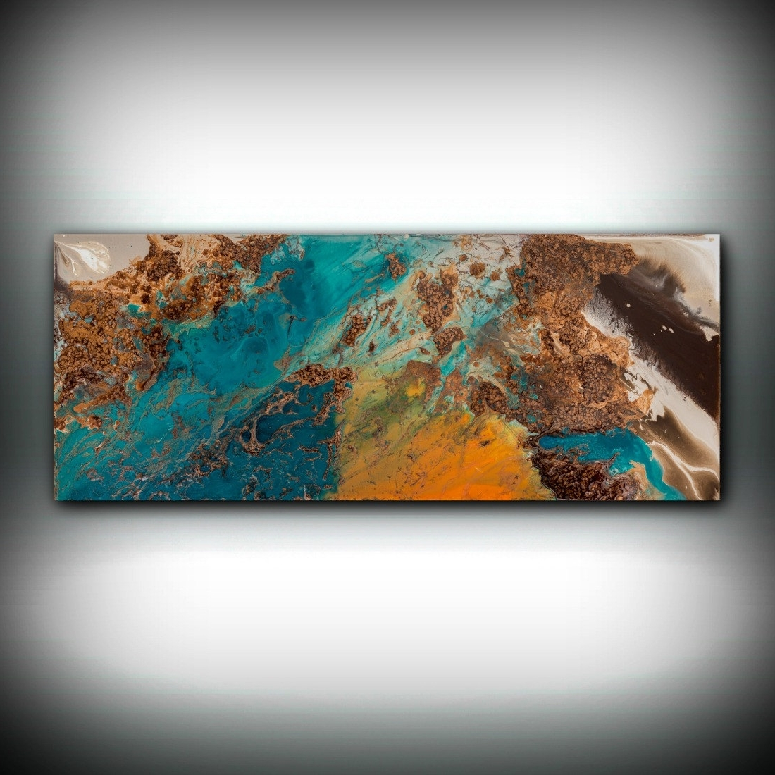 Fashionable Teal And Brown Wall Art With Regard To Sale Blue And Copper Art, Wall Art Prints Fine Art Prints Abstract (View 3 of 15)